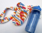 Crochet Water Bottle Holder and Water Bottle ~Blue Water Bottle with Sling, Exercise Accessory, Gift for Walking Buddy ~ Present for Teacher