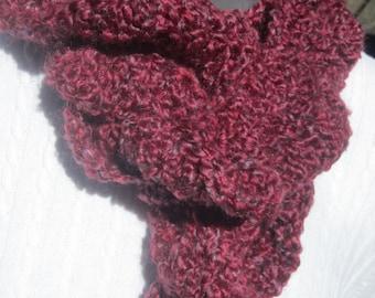 Ruffle Scarf, Wine Colored Soft Winter Wear Neckwarmer, Crochet Frilly Maroon Neckwear Dark Wine Textured Wavy Scarf ~Gift for Mom & Grandma