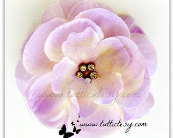 Lavendar/cream Rhinestone flower Hair clip