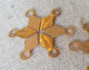Vintage Raw Brass Diamond Tabs Sarah Coventry (36) Retro, Patina, charms