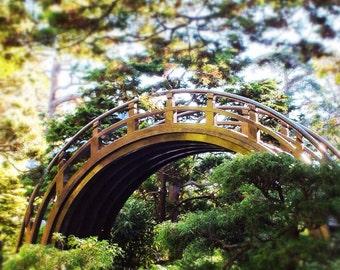 Fine Art photography, Japanese Moon Bridge, San Francisco, California, colourful, dreamy, tea gardens, 8x12
