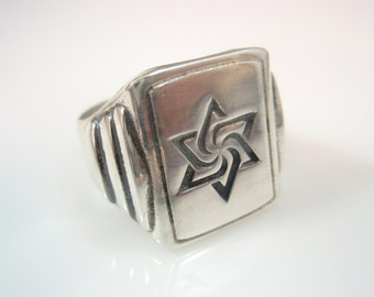 Hexagram star of david  signet Ring Solid Sterling Silver 925 by ezi zino