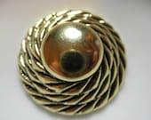 "HUGE Button 1.5"" diameter -Bright Gold Burnished -  Elegant - Metalized Plastic - Twist Rope Border - Hi Contour."