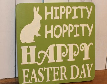 Easter Sign/Subway Style/Hippity/Hoppity/Happy Easter Day/Bunny/Easter Decor