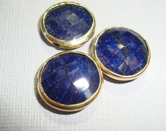 Blue Sapphire Faceted Coin, Double sided, With Vermeil Bezel Rim Pendant, earrings, connector -  A16-3