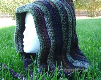 Handmade Crochet Long Hood Cocoa Green Forest Black
