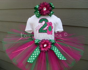 Custom Tutus...BARNEY BIRTHDAY...birthday, tutu set, size 3,6,9,12,18,24 months and 2T,3T,4T,5T,6T years,costume, photo prop, dress up