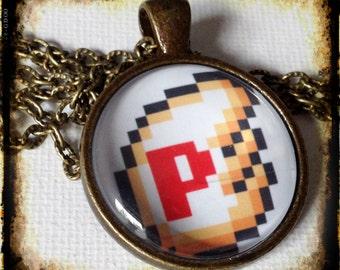 P WINGS . Glass Pendant Necklace . NINTENDO . Super Mario Bros. 3 . Power Up . Videogame . Gamer . GirlGameGeek
