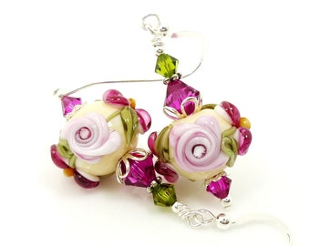 Pink Fuchsia Floral Earrings, Lampwork Earrings, Glass Earrings, Glass Bead Earrings, Flower Earrings, Beadwork Earrings, Glass Bead Jewelry