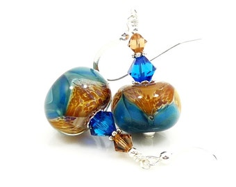 Blue & Brown Earrings, Boro Glass Earrings, Lampwork Earrings, Lampwork Bead Jewelry, Glass Bead Earrings, Beadwork Earrings, Unique Jewelry