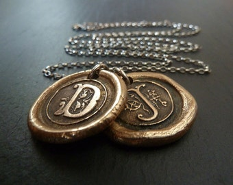 Personalized Initial Letter  Necklace. Personalized Jewelry. Two Wax Seal Letter Initials.