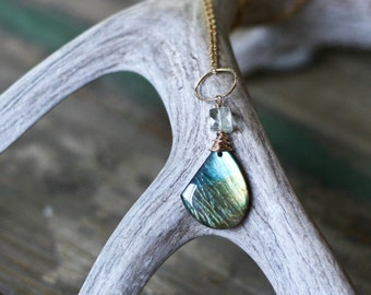 Gold Labradorite Necklace; Shimmering Labradorite and Green Amethyst Necklace