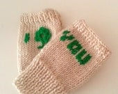 Shamrock Gloves, St. Patricks day gift, 3 Leaves Clover, Shamrock Knit Gloves, Shamrock Fingerless Gloves, Under 25