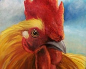 Rooster Giclee Canvas Print Golden King Animal Print Original Oil Painting by Cheri Wollenberg