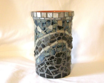Mixed Media Mosaic Rustic Wine Cooler