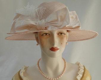 Ladies Pink Straw Hat, 1920s Hat