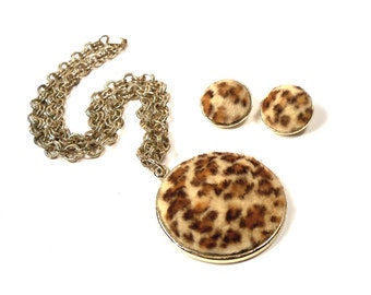 Vintage Leopard Print Necklace & Earring Set For Pin Up Girls and Rockabilly Sex Kittens