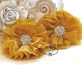 "2 pcs 2.5"" Adeila Collection Dark Mustard Yellow Goldenrod Shabby Frayed Chiffon Ruffle Flowers with Rhinestone,applique , hair accessories"