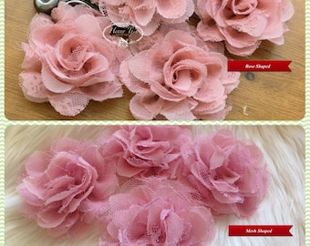 NEW: 4 pieces SMALL Shabby Chic Frayed Chiffon Mesh and Lace Rose Fabric Flower - Dusty Peach