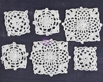"NEW: Prima Fabric Embellishments - 6 pcs White Crochet Doily ""Square"""