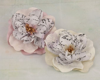 NEW: Valentina Collection - Creme Mulberry Paper Flowers  570996 Pale Creme and Pink Vintage Inspired Flowers. Fascinator Appliques.