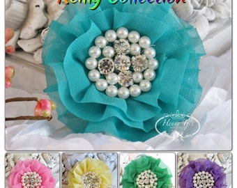 Wholesale: Reilly Collection Soft Chiffon Ruffled Fabric Flowers w/ Rhinestones Pearls - Layered Bouquet fabric flower