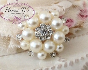 35mm - 4 pcs Silver Metal Crystal Rhinestone and Pearls Brooch Pins Embellshments - wedding / hair / dress / garment accessories