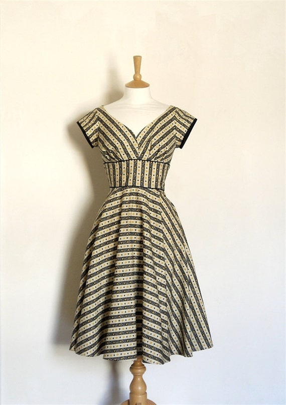 Black and Mustard Yellow Striped Sweetheart Tea Dress with Cap Sleeves- Made to Measure - FREE SHIPPING
