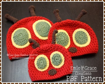 Crochet Caterpillar Hat Pattern, Bug Beanie, HUNGRY CATERPILLAR - pdf 101