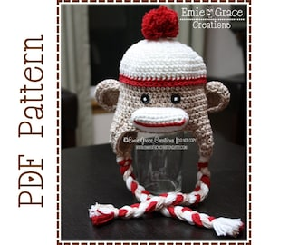 Sock Monkey Hat Crochet Pattern, 8 Sizes from Newborn to Adult, SAM and SALLY SOCK Monkey - pdf 126