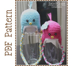 Bird Hat Crochet Pattern, Ear Flap Chick, SWEET TWEETS BIRDIE - pdf 110