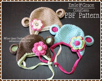 Crochet Monkey Hat Pattern, Ear Flap, AMELIA and GEORGE MONKEY - pdf 119