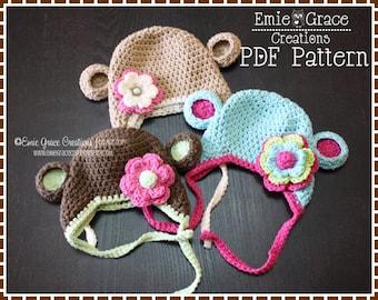Crochet Monkey Hat Pattern, Ear Flap, AMELIA and GEORGE MONKEY - pdf 119
