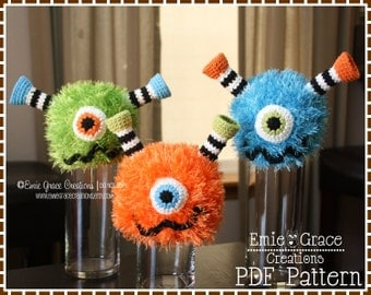 Monster Hat Crochet Pattern, 8 Sizes Newborn to Adult, FUZZY FRANKIE and FIONA Monster - pdf 138