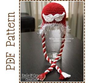 Mustache Hat Crochet Pattern - STACHING THROUGH the SNOW Ear Flap - 412
