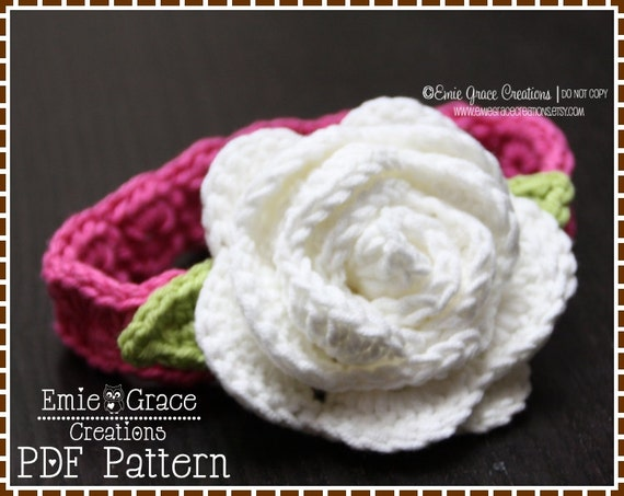 Large Crochet Flower Pattern For Headband : Flower Headband Crochet Pattern ROSE 602 by EmieGraceCreations