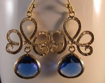 Gold Filigree Bezel Earrings, tiara filigree, gold filigree, gold bezel, bezel earrings, drop earrings, dangle earrings, crystal earrings