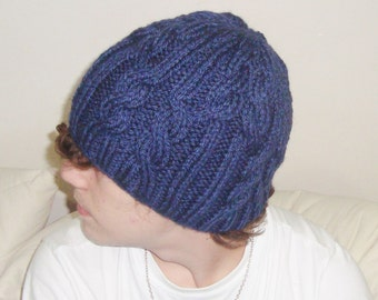 Navy Blue Mens Beanie Cable Knit Beanie for Mens Winter Fashion Winter Accessories boyfriend gift idea