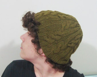 Hand Knit Hat Mens Hat in Green Hat Winter Hat Men's Fashion Accessories Boyfriend, Husband, Dad Gift Fathers Day Gift