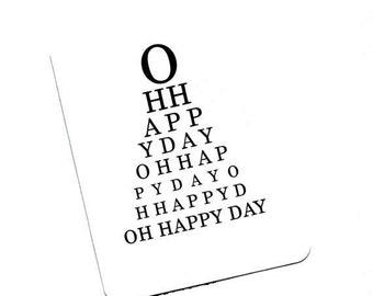Eye Chart Card.Oh Happy Day. Eye Chart.Eye Chart Card.Paper Goods.Eye Exam.Eye Test.Eyes.Site.Vision.Optometrist. Eye Doctor. by Yvonne4eyes