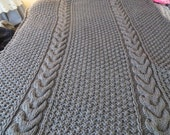 Hand Knit Afghan / Blanket Pewter (Grey or Gray) Horseshoe Cable