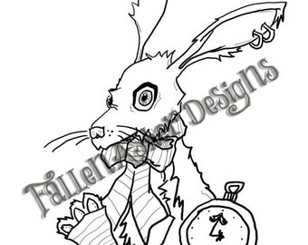 Alice in Steampunk Wonderland- Rabbit, drink me, eat me, rabbit on table- 4  digital stamp combo