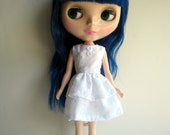 White Sleeveless Layer Dress for Neo Blythe Dolls Embroidered Stitched Flowers