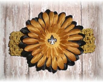 Baby Headband, New Orleans SAINTS Inspired Gold and Black Fleur-de-lis Flower Hair Clip and Headband Set