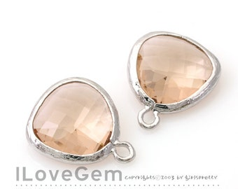 SALE 20% off // 10pcs of P1750 Rhodium plated, Peach, Glass fancy rosecut 12.5mm, Glass pendant, Framed glass