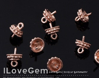 NP-860 Rose Gold plated, Bead cap with peg, Closed Loop, 8pcs