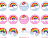 INSTANT DOWNLOAD - Rainbow -  Digital Bottle Cap Images-Bottlecap Jewelry-Stickers-Tags-Labels-Cupcake Toppers-Magnets-Bottlecap Crafts