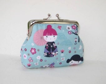 Medium Coin Purse in Light Blue Japanese Dolls and Flowers