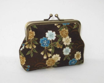 Medium Coin Purse in Brown Asian Flowers