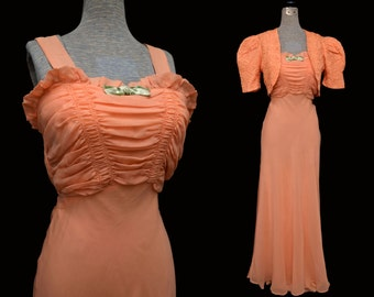 Vintage 30s Dress Peach Chiffon Ruched Top Matching Satin Embroidered Jacket Huge Puff Sleeves